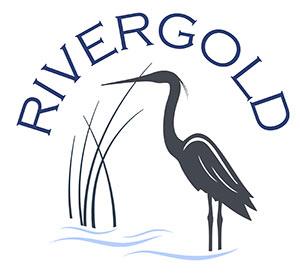 Logo mit Flussgold und einem Reiher